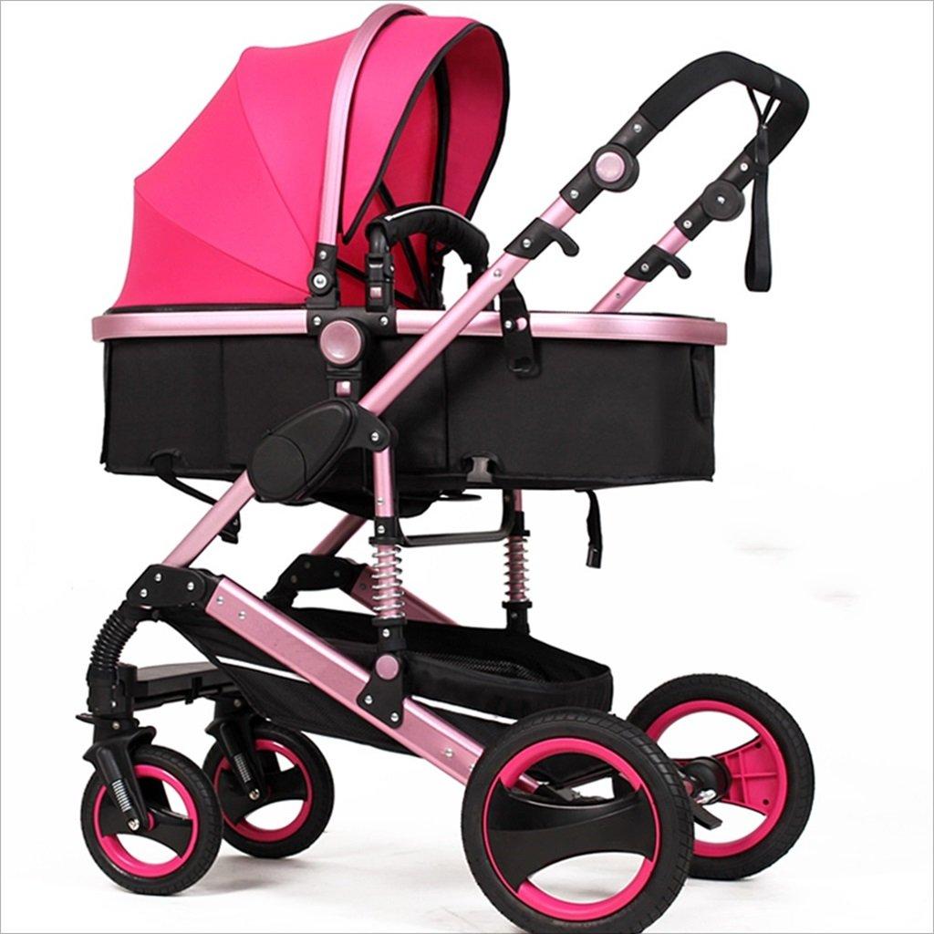 新生児の赤ちゃんキャリッジ折りたたみ可能な座って、1ヶ月のためのダンピングの赤ちゃんカートに落ちることができます 3歳の赤ちゃんの双方向四輪ベビートロリーを振るのを避ける (色 : ピンク ぴんく) B07DVMQJJ7ピンク ぴんく
