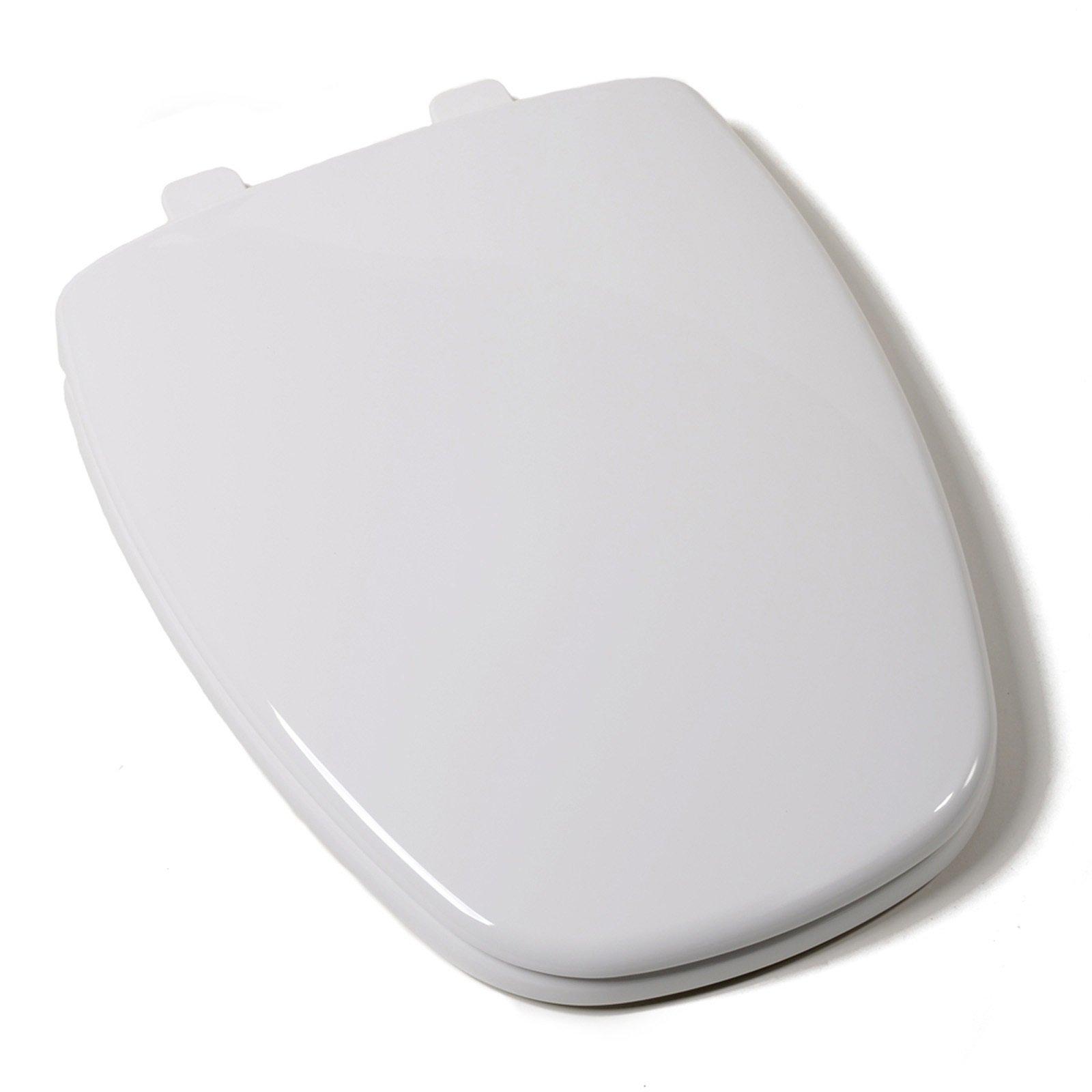 Bath Décor 2F1E11-00 Top Mount Square Front Residential Elongated Plastic Toilet Seat for Eljer New Emblem