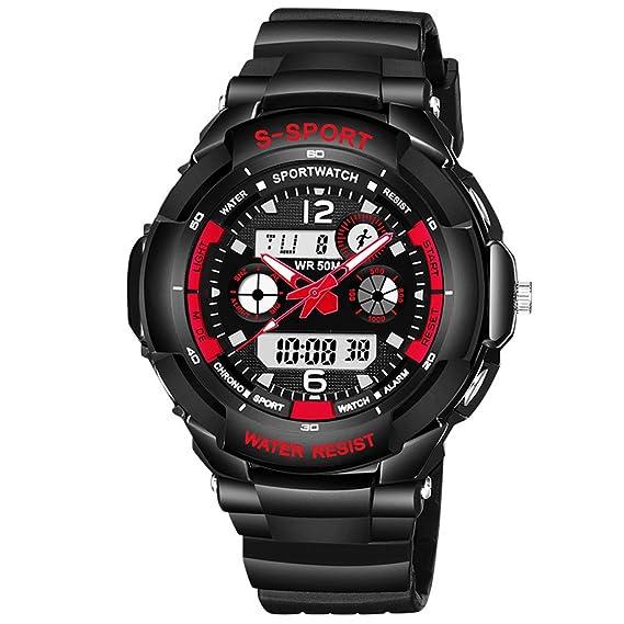 Reloj hombres Reloj Deportivo Electrónico Para Hombres Natación Impermeable Multi-función Digital Multi-time Zone Watch (Color : Black red): Amazon.es: ...