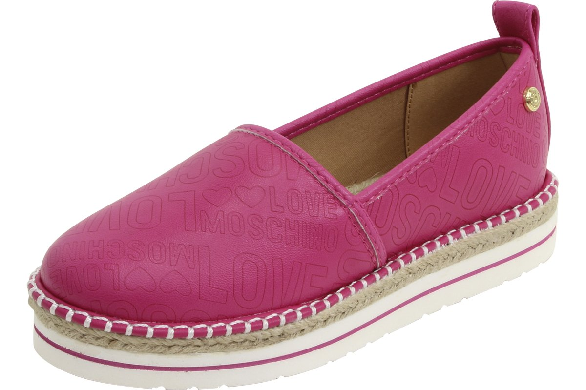 Love Moschino Embossed Logo Fuchsia Espadrilles Loafers Shoes Sz: 9