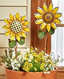 The Lakeside Collection Set of 2 Sunflower Garden Stakes