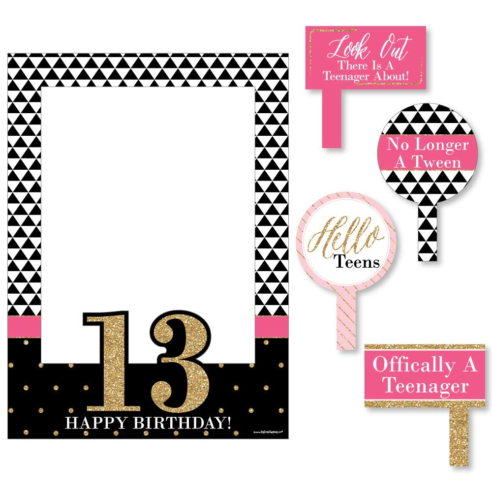 Big Dot of Happiness Chic 13th Birthday - Pink, Black and Gold - Birthday Party Selfie Photo Booth Picture Frame & Props - Printed on Sturdy Material