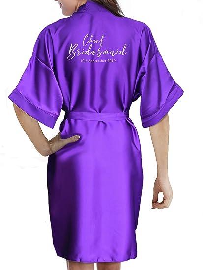 7f3790588 Personalised Ladies/Childrens Satin Kimono / Robe Flower Girl,  Bridesmaid,Junior Bridesmaid,