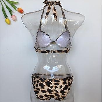 AMA 2 PCS New Lady Women Girls Padded Animal Print Leopard with Diamond Push up Padded Low Rise Beach Bikini Set Swimwear Swimsuit