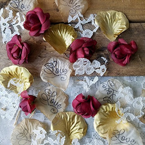 burgundy with gold and lace wedding confetti or table scatter boho wedding decor bridal