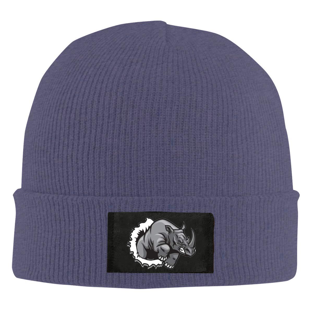 ASDGEGASFAS Unisex Rhino Ripping Skull Cap Knit Wool Beanie Hat Stretchy Solid Daily Wear