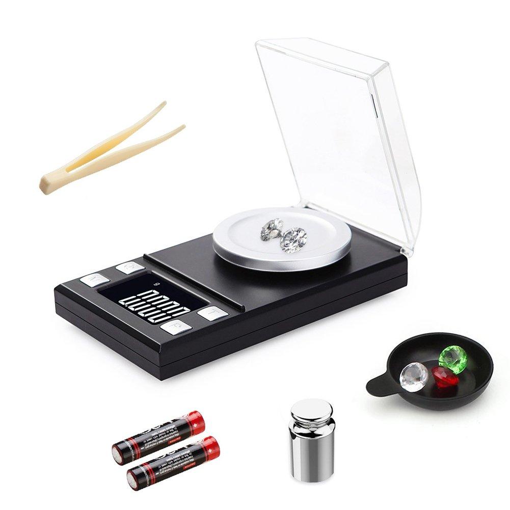 Digital Milligramme Échelle, Junnom haute précision 0,001g x 50g Mini LCD Balance de poche balance de bijoux de balance électronique avec poids de calibrage Pince à épiler et pesant Poêles