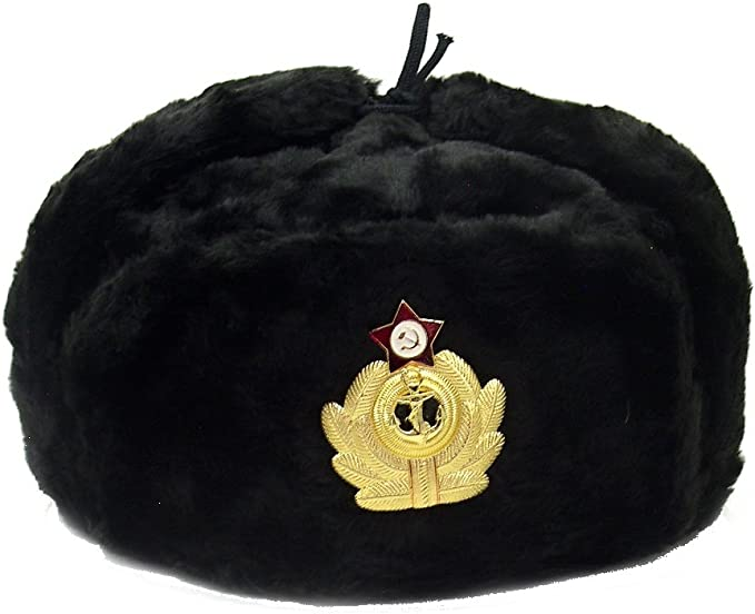 RUSSIAN  MILITARY WINTER USHANKA HAT WITH SOVIET BADGE!!!