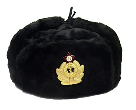 buy popular 34be2 0d729 Amazon.com   Russian Army Military Hat Ushanka Soviet Navy Badge  Black  size M (metric 58)   Everything Else
