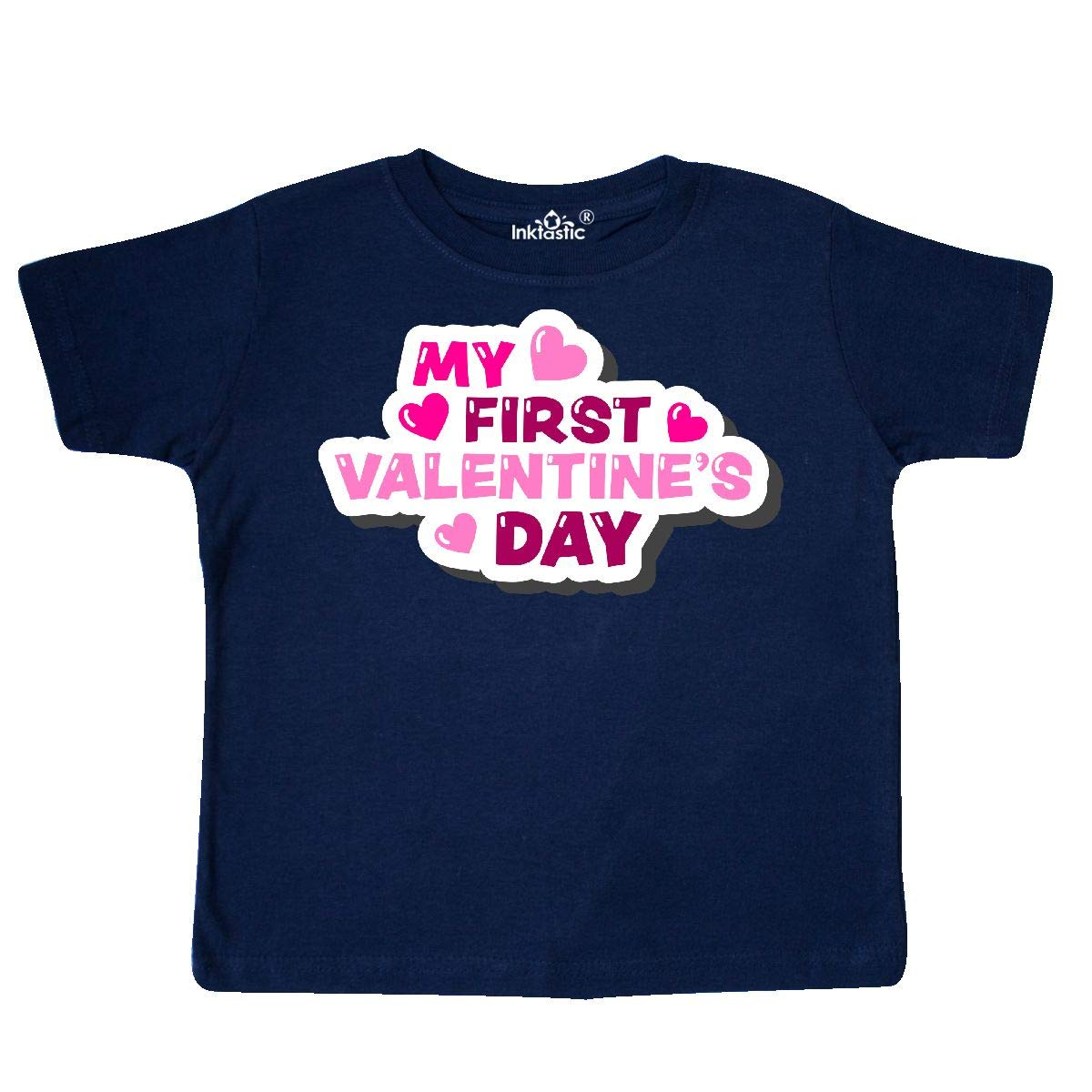 inktastic My First Valentines Day with Hearts in Pink Toddler T-Shirt