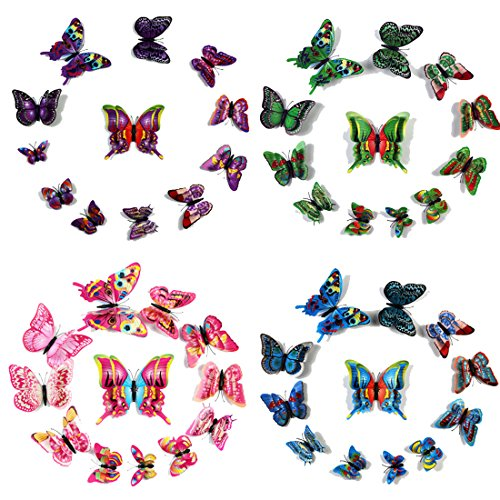 Purple Satin Butterfly Wings For Kids (Givovanni 3D Butterfly Art Wall Decor 48 Pieces Vivid Colorful Double Wing Fridge Magnet Home Decor Art Applique, Butterflies Wall Stickers Decals Baby Girls Room DIY Crafts Removable (4 Color-05))