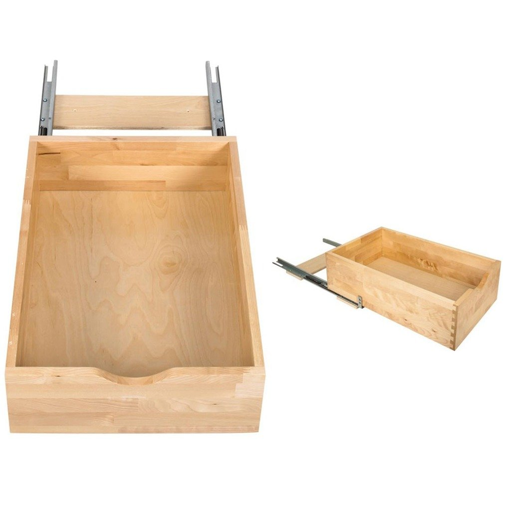Hardware Resources RO18-WB Preassembled Rollout Shelf System, White Birch