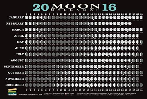 2016 Moon Calendar Card  5 Pack