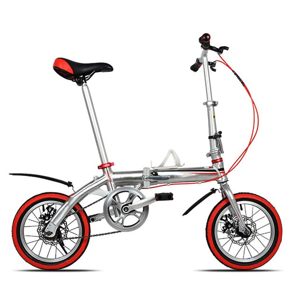 costo real G WHKJZ Bicicleta Plegable Marco Aluminio 14 14 14  Unisex Tamaño pequeño fácil Llevar Adecuado para Muchas Ocasiones Cojín del Asiento Diseño Ergonomico rojoucir Presión Cadera  100% precio garantizado