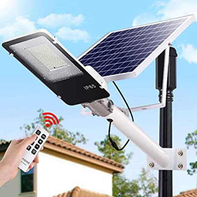 SZYOUMY Solar Street Light Outdoor, LED Flood Lights Lamp with Remote Control Timing High Brightness Dusk to Dawn Security Lighting for Yard, Garden, Gutter, Pathway, Basketball Court (70W)