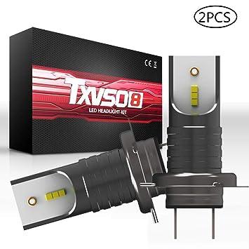 leegoal H7 LED Bombillas de la Linterna, 2Pcs Impermeable Faro Alto bajo y luz de Niebla, 110W 26000LM 6000K Blanco Carcasa de Aluminio y Turbo ...