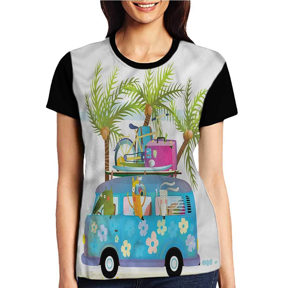 Tight Tops Tee,Tropical,Exotic Orchid Butterflies S-XXL Girls Short Sleeves Tight