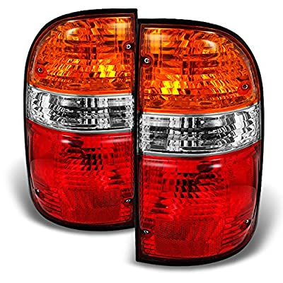 For Toyota Tacoma Truck Red Amber Tail Lights Brake Lamps Driver Left + Passenger Right Replacement Pair: Automotive