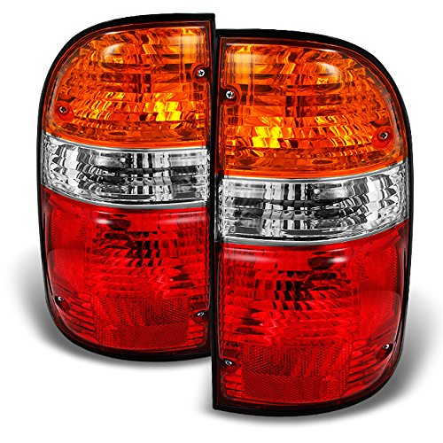 For Toyota Tacoma Truck Red Amber Tail Lights Brake Lamps Driver Left + Passenger Right Replacement Pair -