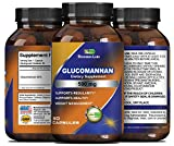Glucomannan Pure Powder Capsules - Konjak Root Fiber Appetite Suppressant + Natural Weight Loss Supplement - Constipation Relief - Lowers Cholesterol + Regulates Blood Sugar