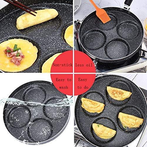 LISYS Poêle à Oeufs de 4 Tasses, poêle à crêpes pour Hamburgers à Omelette Ronde multifonctionnelle antiadhésive, pour cuisinière à gaz de Cuisine