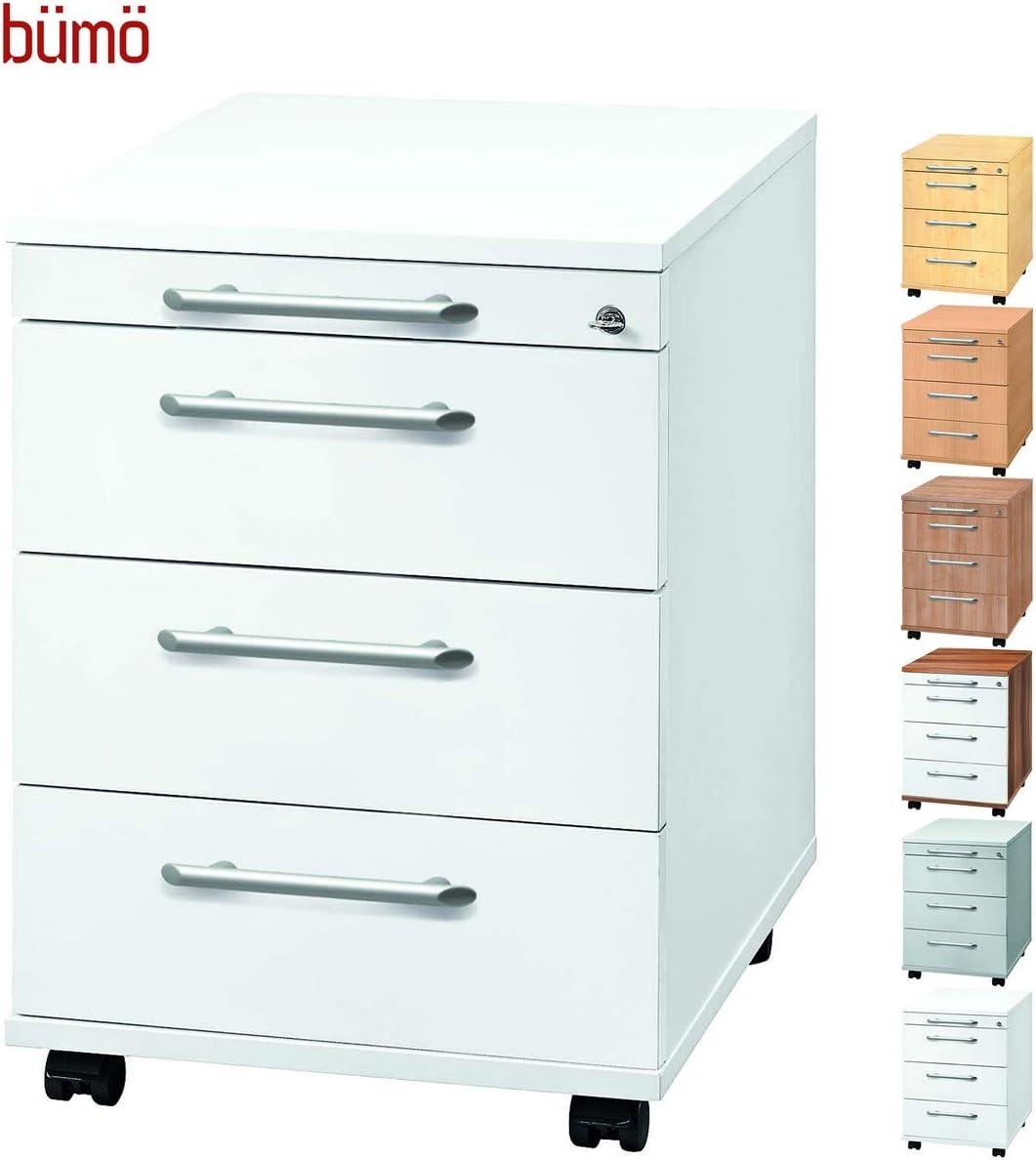 Tischcontainer mit Rollen Zwetschge//Wei/ß in 6 Dekoren b/üm/ö/® Rollcontainer mit 3 Sch/üben /& Schloss B/ürocontainer aus Holz