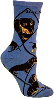 product image for Wheel House Designs Black Dachshund Argyle Socks (Shoe size 9-12)