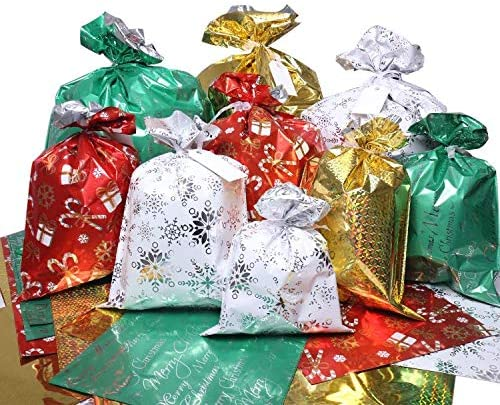 Christmas Bags, 32Pcs Santa Wrapping Bag in 4 Sizes and four Designs with Ribbon Ties and Tags for Wrapping Holiday