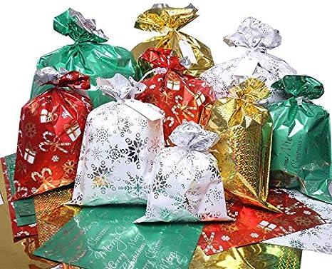 Bolsas De Regalo De Navidad 32 Unidades De Bolsas De Regalo De Papá Noel En 4 Tamaños Y 4 Diseños Con Lazos Y Etiquetas Para Envolver Regalos De Día Festivo Home