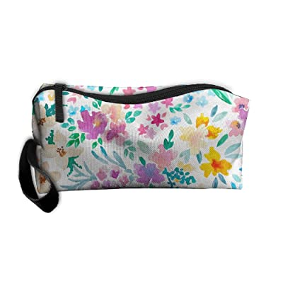 Watercolor Floral Pattern Pattern Makeup Bag Printing Girl Women Travel Portable Cosmetic Bag Sewing Kit Stationery Bags Feature Storage Pouch Bag Multi-function Bag