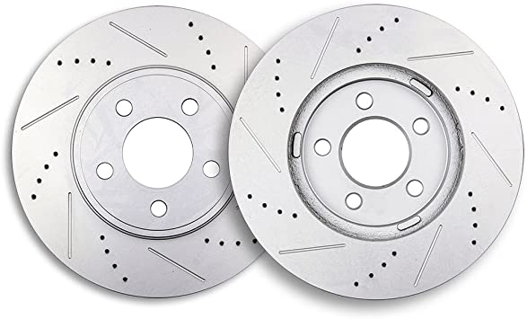 For 2003-2007 Lincoln Town Car Front Rear Drill Slot Brake Rotors+Ceramic Pads