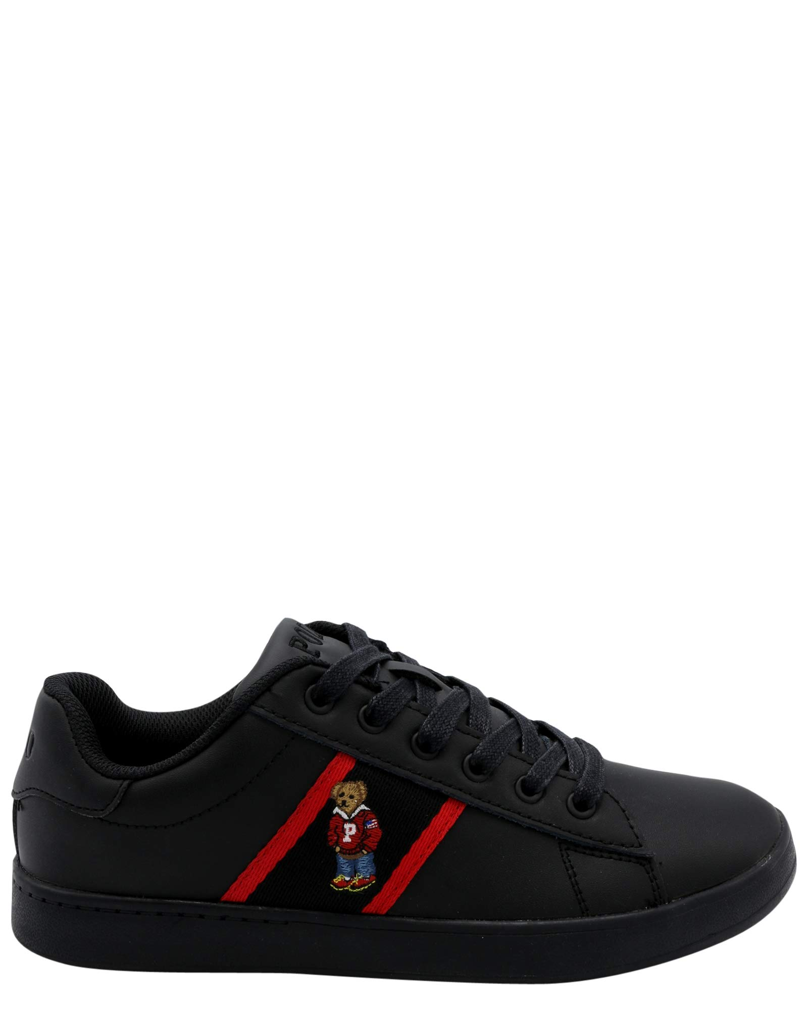 Polo Ralph Lauren Kids Quilton Bear Sneaker (11 M US Little Kid, Black/Red)