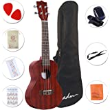"""ADM 23"""" Deluxe Mahogany Concert Ukulele Kit with Bag, Strap, Tuner and Picks"""