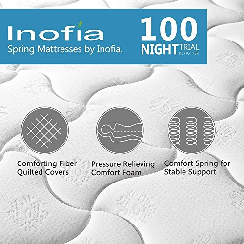 Single Mattress , Inofia Sleeping Super Comfort Hybrid Innerspring twin Mattress Set with 3D knitted Dual-Layered Breathable Cover-8''-Certified by CertiPUR-US-100 Hassle-free Night Trial