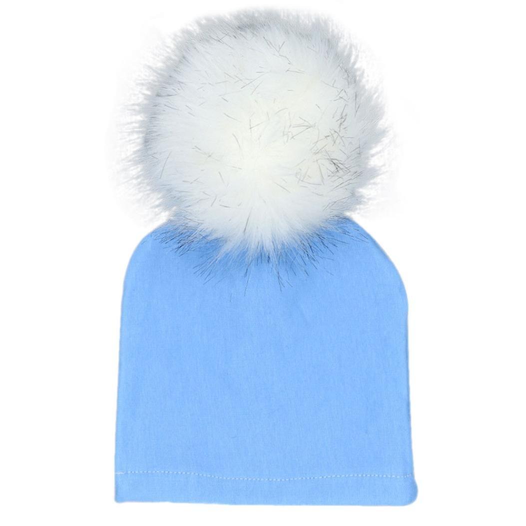 Baby Mütze Clode® Neugeborene Säuglingsbaby Winter Warm Solid Hüte Hairball Beanie Baumwoll Cap FX818068