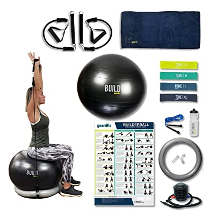 Home Gym Exercise Equipment Bundle With Ball Base Workout Poster Resistance Bands