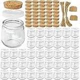 Syntic 40 Pcs 7 oz (225ML) Glass Jars, Yogurt Jars with PE Lids and Cork Lids, Clear Pudding Jars Ideal for Jam, Honey…