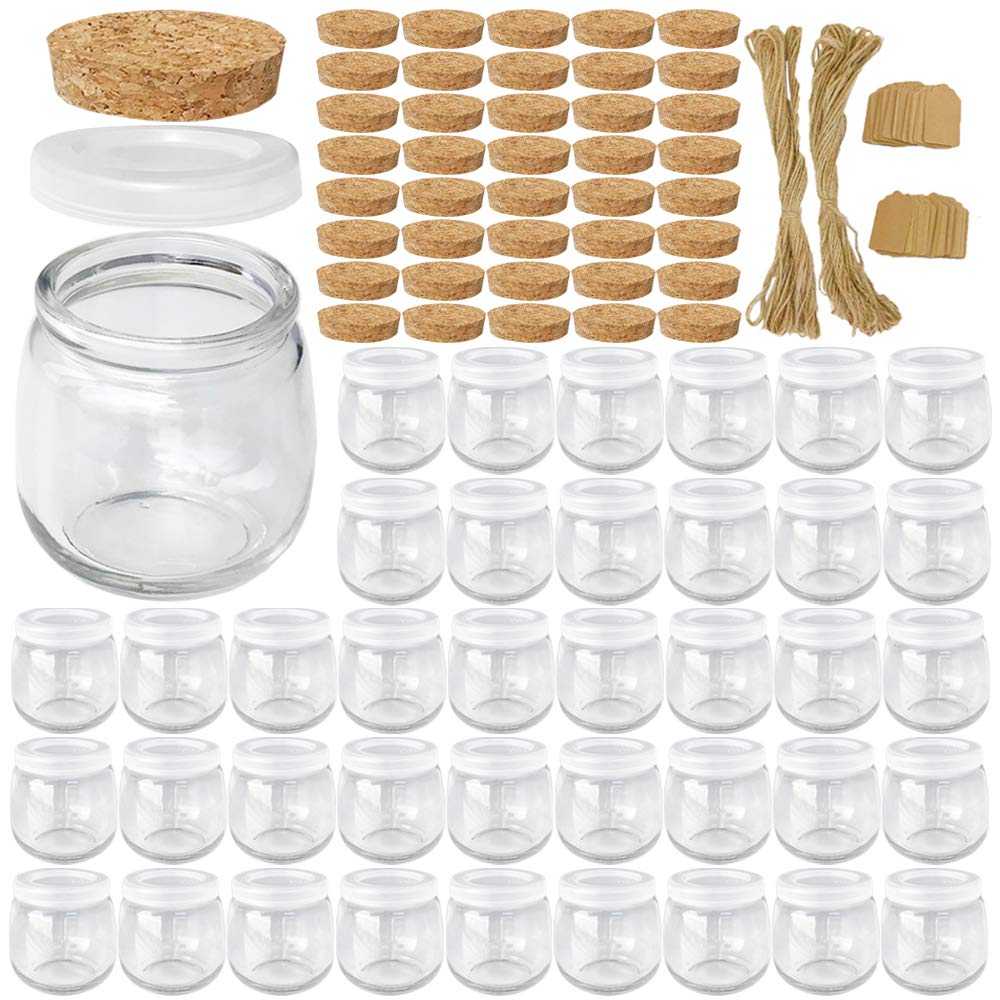 Syntic 40 Pcs 7 oz (225ML) Glass Jars, Yogurt Jars with PE Lids and Cork Lids, Clear Pudding Jars Ideal for Jam, Honey, Spices,Mousse, DIY and Art