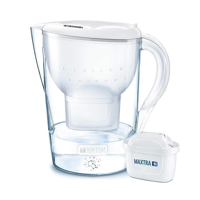 BRITA Marella XL – Jarra de Agua Filtrada con 1 cartucho MAXTRA+ – Filtro de agua BRITA que reduce la cal y el cloro – Agua filtrada para un sabor excelente – Filtro de agua color blanco