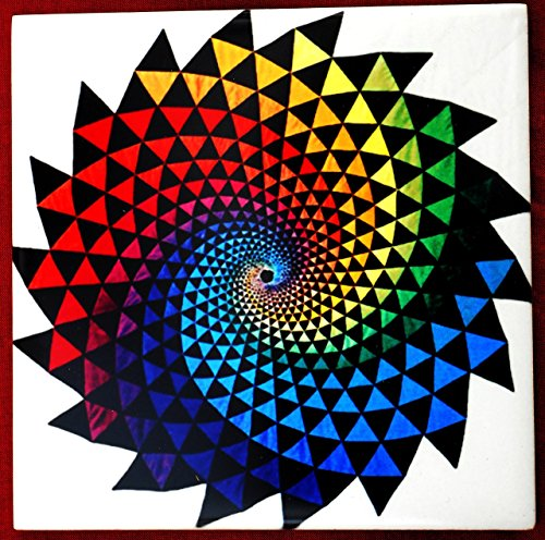 Decorative Ceramic Tile Coaster, Rainbow Vortex Artwork, Wedding Birthday Housewarming Gift
