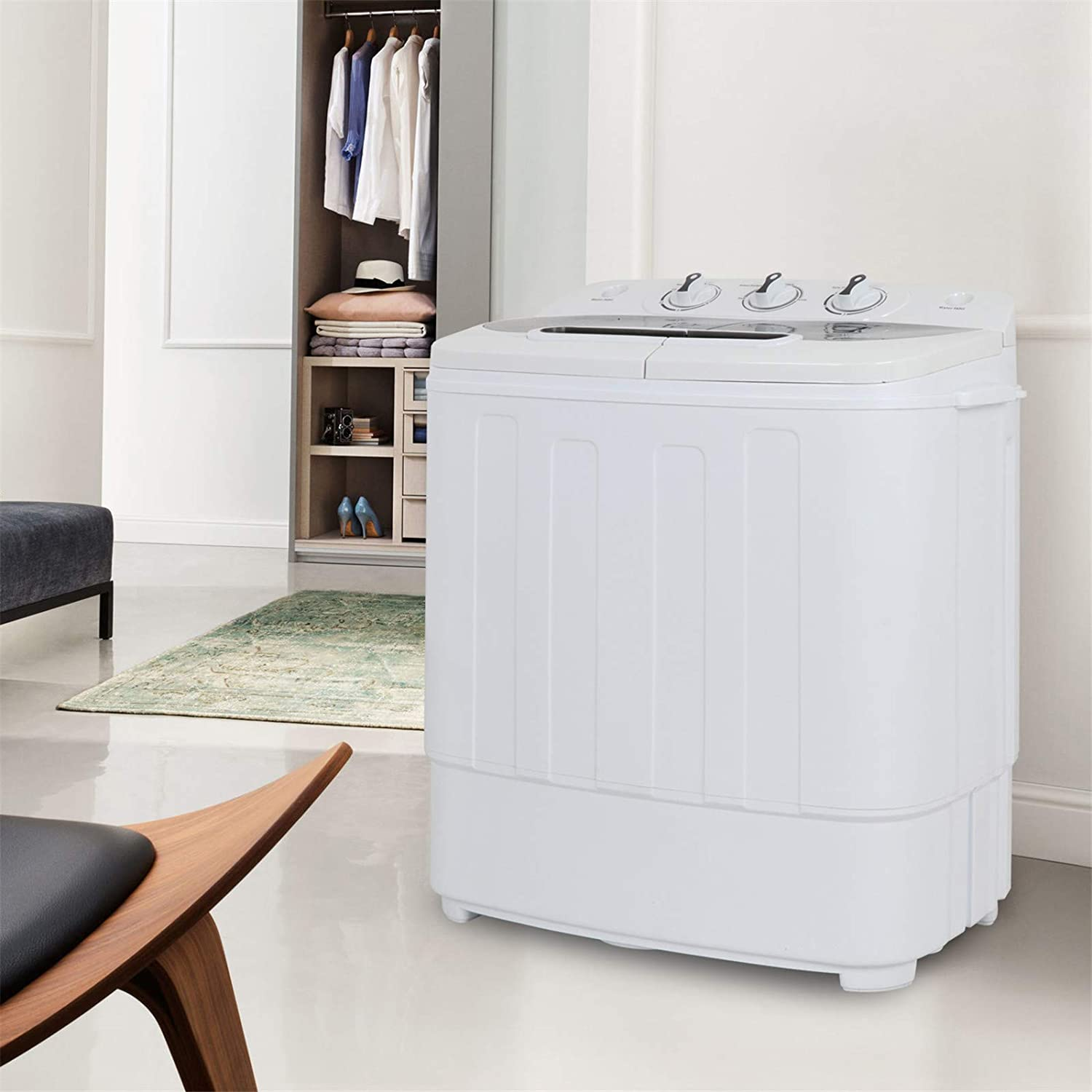 Amazon.com: F2C Portable Mini Compact Automatic Twin Tub Washing Machine 13lbs Capacity Washer Spin Cycle Dryer Spinner W/Drain Pump: Home Improvement