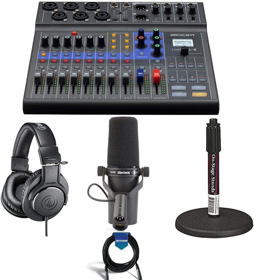 Zoom LiveTrak L-8 Portable 8-Channel Digital Mixer and Multitrack Recorder - Bundle with Shure SM7B Cardioid Vocal Mic, On-Stage DS7200B Desktop Mic Stand, A-T ATH-M20x Pro Monitor Headphones, Cable