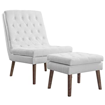 Miraculous Modway Modify Tufted Modern Lounge Accent Chair And Ottoman Set In White Machost Co Dining Chair Design Ideas Machostcouk
