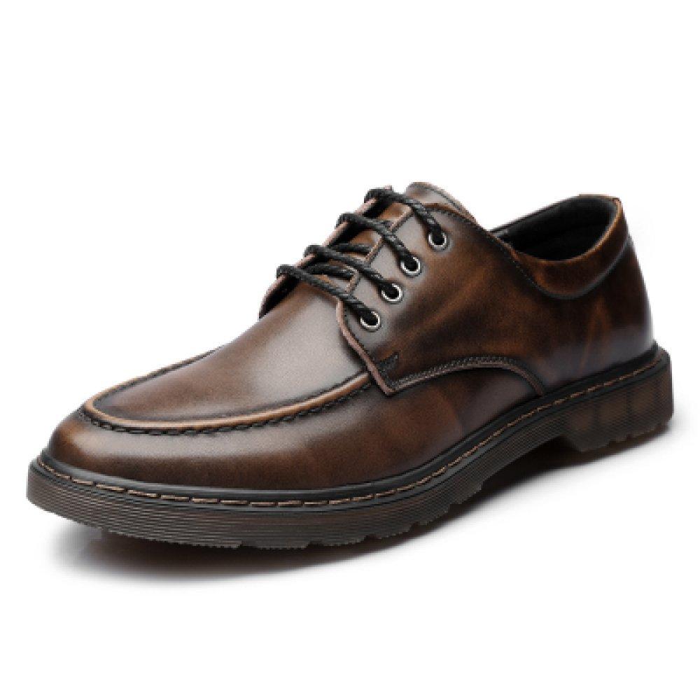 HGDR Round Toe Leder Lace up Derby Schuhe Herren Für Männer,   Herren Schuhe Business Office Casual Flache Fahr Schuhe Braun ede190