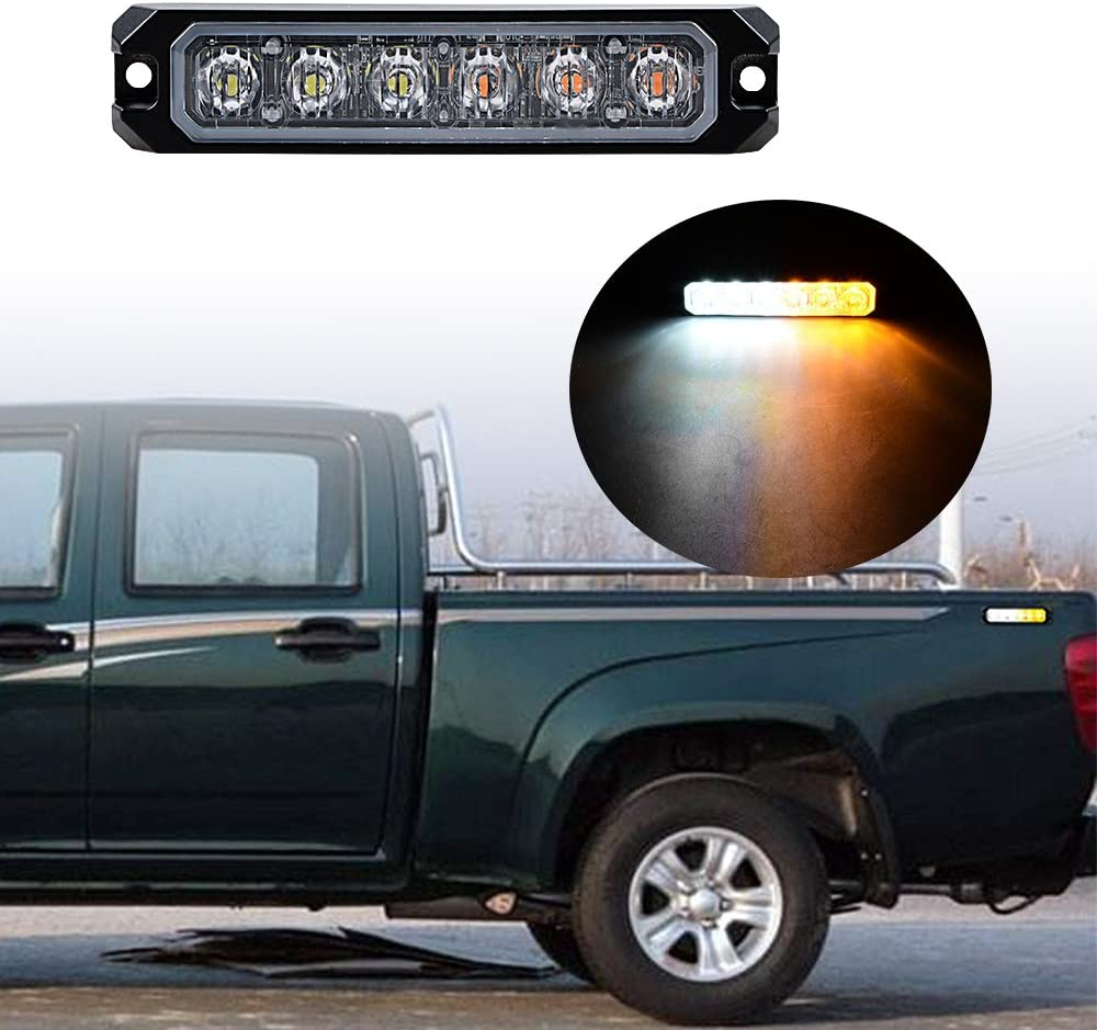 20pcs AMBER/&WHITE 30W 6-LED IP68 Emergency Warning Hazard Surface Mount Synchronous Flashing Strobe Light Car Truck 12V-24V