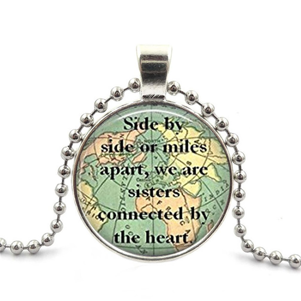 JEANCZ Glass Cabochon Necklace Ball Beads Pendant Sister Map Travel World Mapfor DIY Jewelry Pendant Necklace