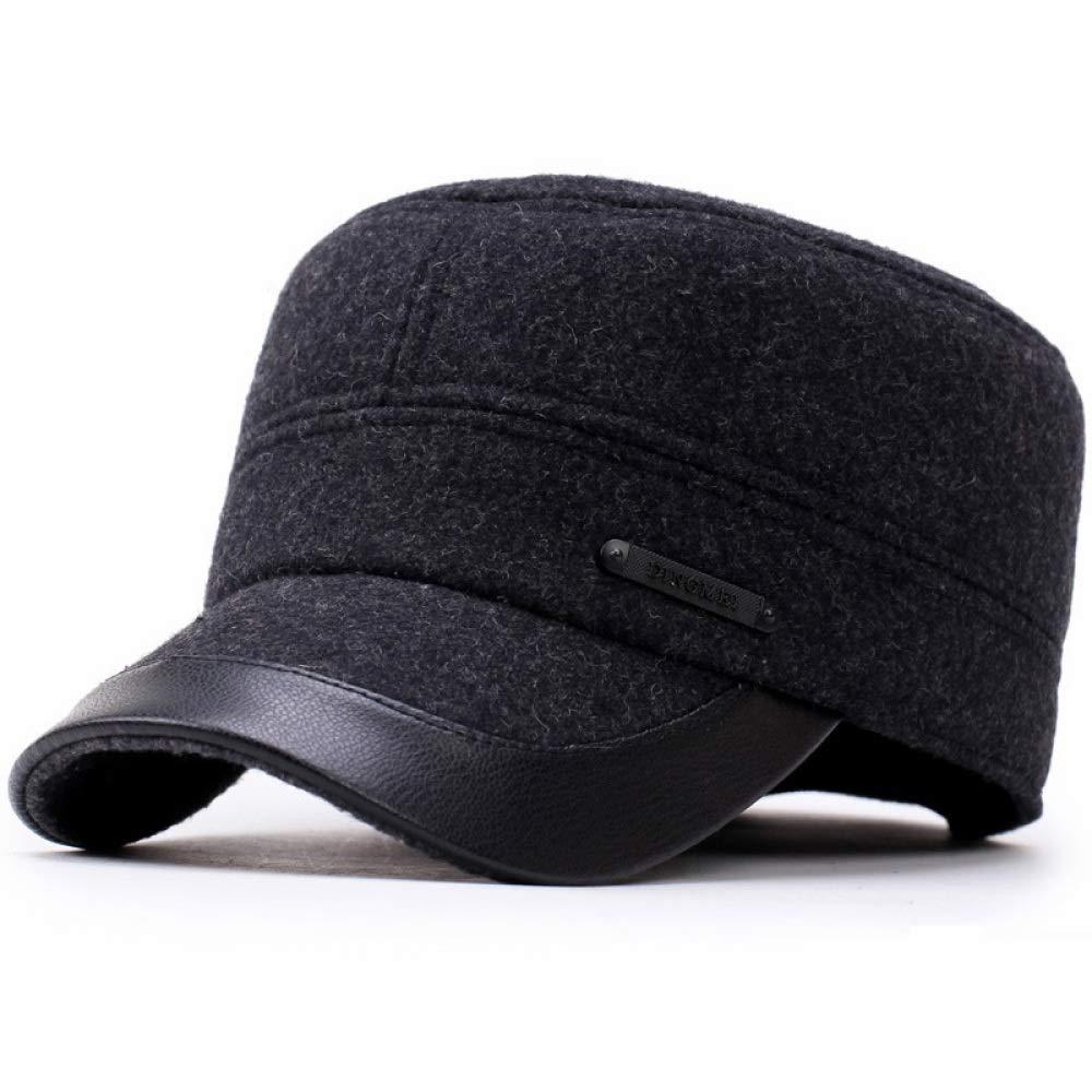 FJTHY Top Chapeau Plat Hommes D'Âge Moyen Automne Et Hiver Épaississement Cadeau De Chaleur en Plein Air,Noir,Taille Unique
