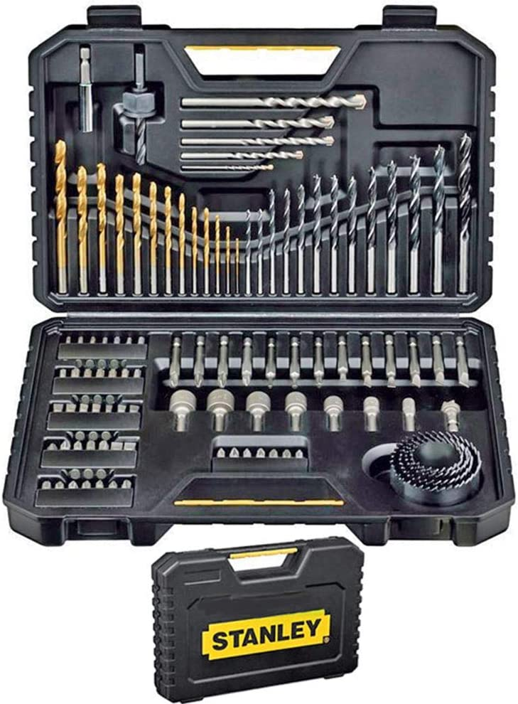 Stanley STA7205-XJ - Juego de Brocas (Taladro, Albañilería, Metal, Madera) Acero inoxidable, Negro, 100 Piezas: Amazon.es: Bricolaje y herramientas