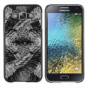 "Be-Star Único Patrón Plástico Duro Fundas Cover Cubre Hard Case Cover Para Samsung Galaxy E5 / SM-E500 ( Búho de ojos plumas misteriosas Arte Lápiz"" )"
