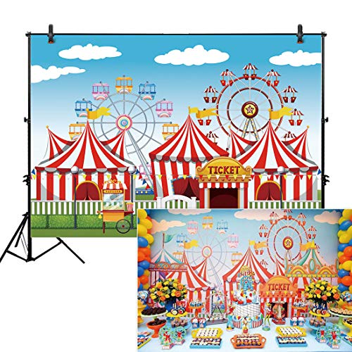 (Allenjoy 7x5ft Red Circus Backdrop Amusement Park Tents Stratus Playground Carnival Carousel Kids Boy Girl 1st First one Birthday Party Banner Background Photo Booth Baby Shower)